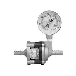 "65 psi water pressure reducer valve with SS body, pressure gauge, 3/8"" SS barb inlet/outlet"