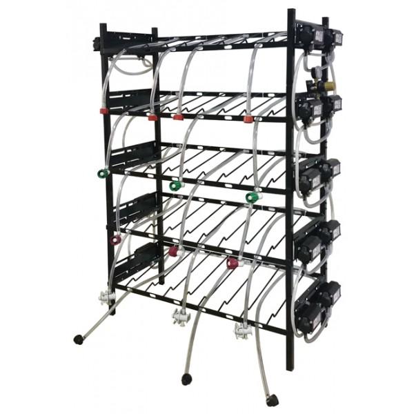 bib inclined rack assy  2x4  top pump mount  6 pumps  connectors  lp reg  line labels