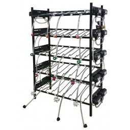 BIB inclined rack assy, 2x3, side pump mount, 5 pumps, connectors, reg set, line labels