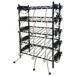 BIB vertical rack assy, 3x5, center pump mount, 16 pumps, connectors, reg set, line labels, top shelf